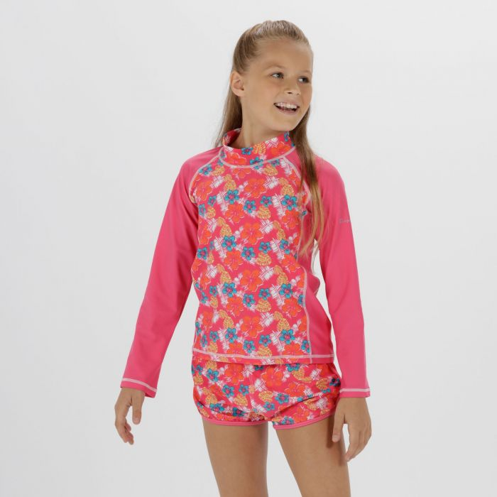 Kids Hobey Swimming Top Hot Pink Tropical