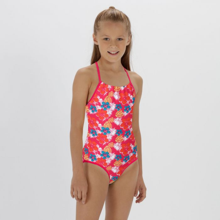 Kids Takisha Swimming Costume Hot Pink
