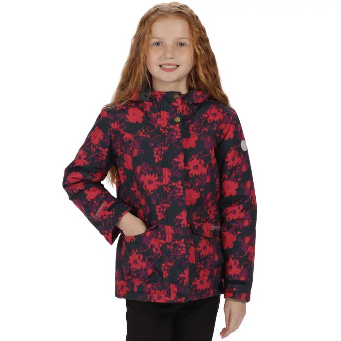 Kids Rosebank Waterproof Hooded Jacket Navy Floral Print