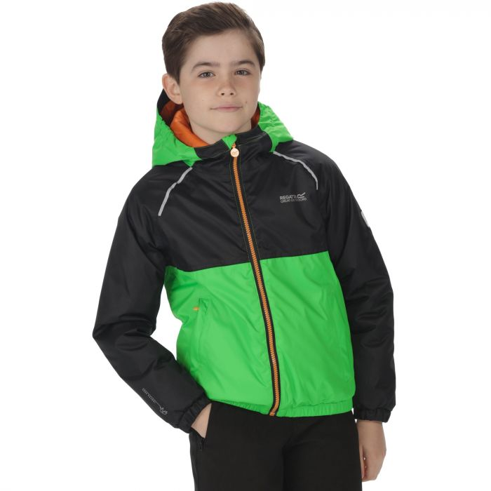 Kids Urbanyte Waterproof Hooded Jacket Fairway Green Black