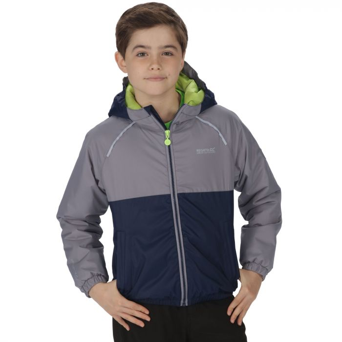 Kids Urbanyte Waterproof Hooded Jacket Navy Rock Grey