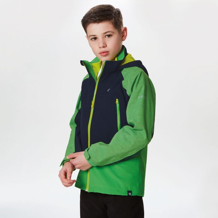 Kids Hydrate III Waterproof 3-in-1 Jacket Fairway Green Reflective Navy
