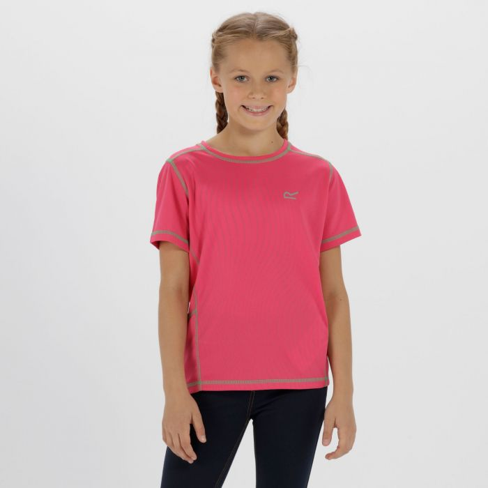 Kids Dazzler Reflective T-Shirt Hot Pink