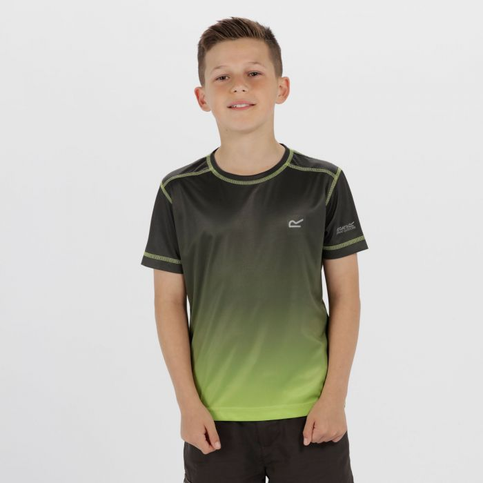 Kids Fazed Quick Dry T-Shirt Black Lime Green