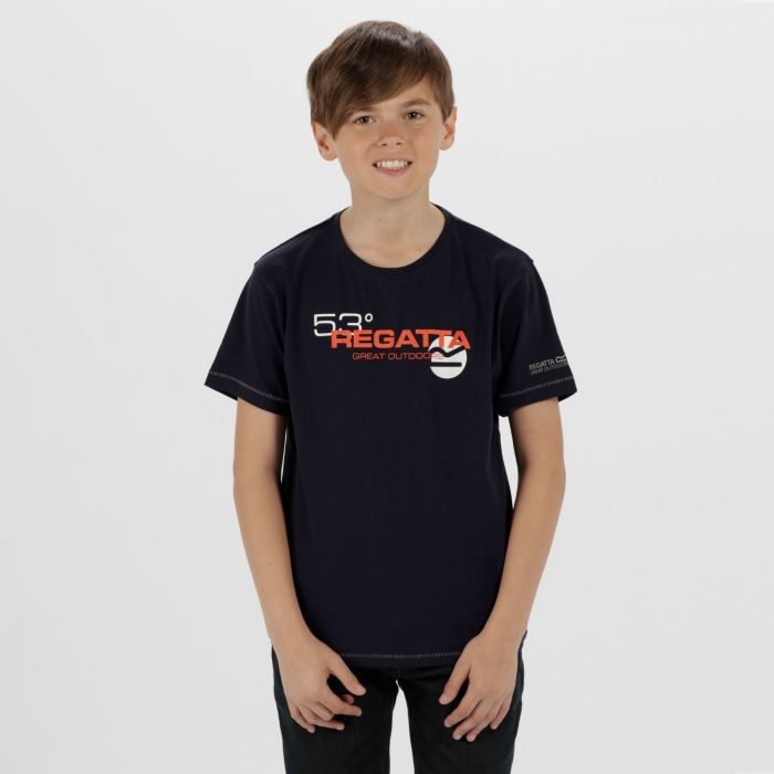 Kids Bosley Cool Weave Cotton T-Shirt Navy