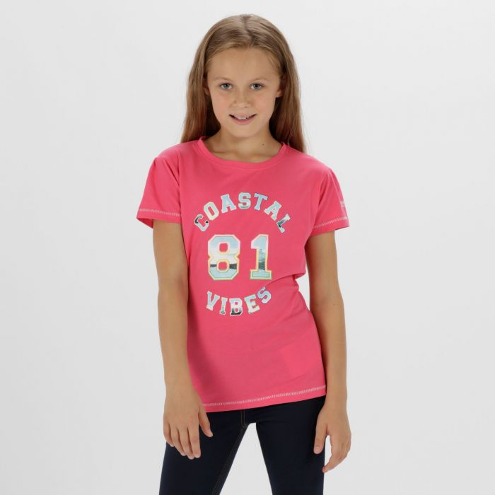 Kids Bosley Cool Weave Cotton T-Shirt Hot Pink