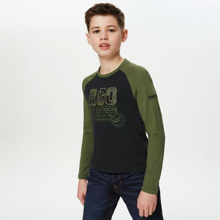 Wylie Coolweave Cotton T-Shirt Black Cypress Green