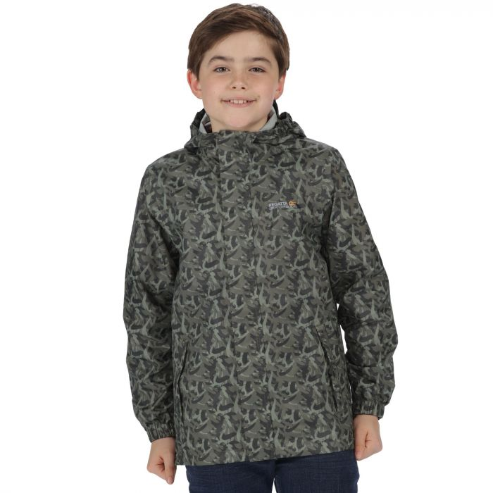 Kids Printed Pack It Jacket Waterproof Packaway Fauna Green Camo