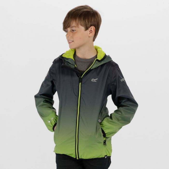 Printed Lever Lightweight Waterproof Hooded Jacket Black Lime Zest