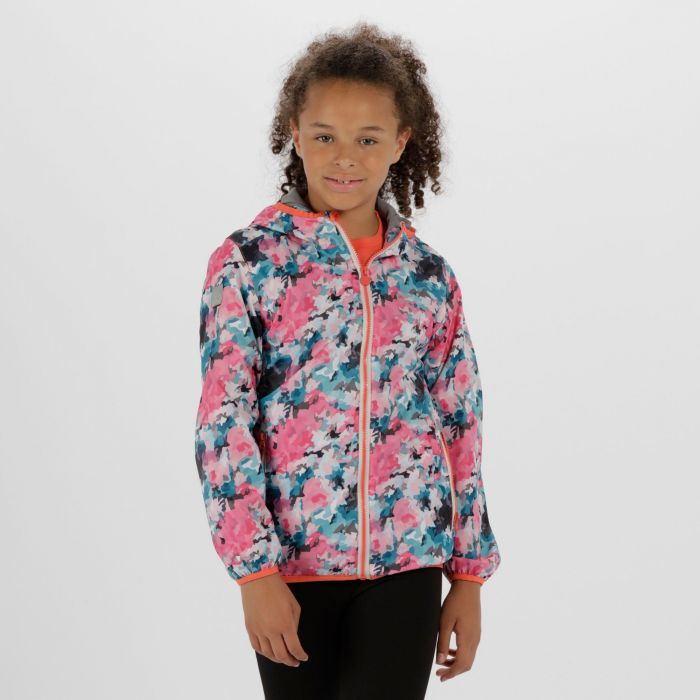 Kids Printed Lever Lightweight Waterproof Hooded Jacket Multi Floral