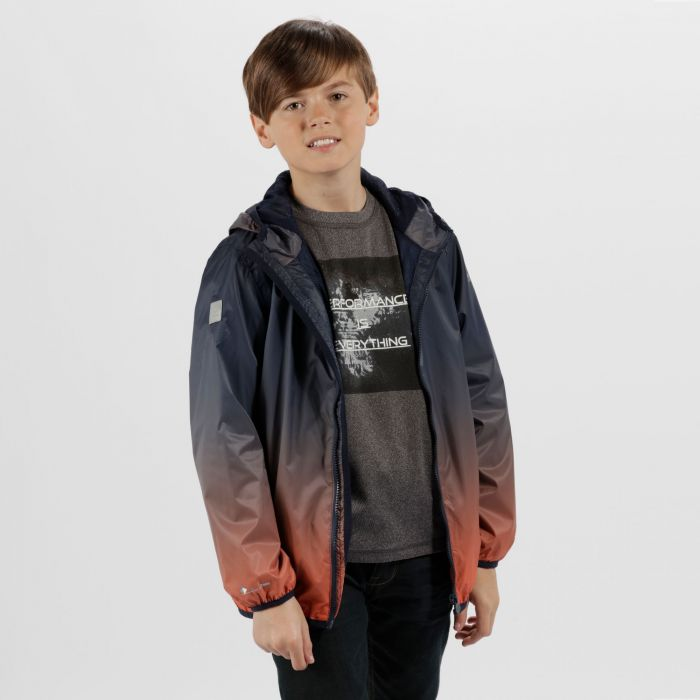 Kids Printed Lever Lightweight Waterproof Hooded Jacket Navy Amber Glow