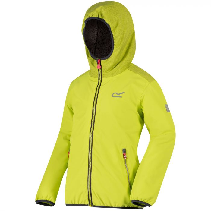 Kids Volcanics Waterproof Reflective Hooded Jacket Lime Zest