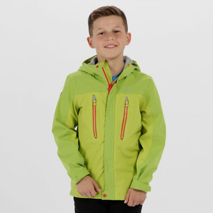 Kids Hipoint Stretch III Waterproof Jacket Lime Zest Pepper