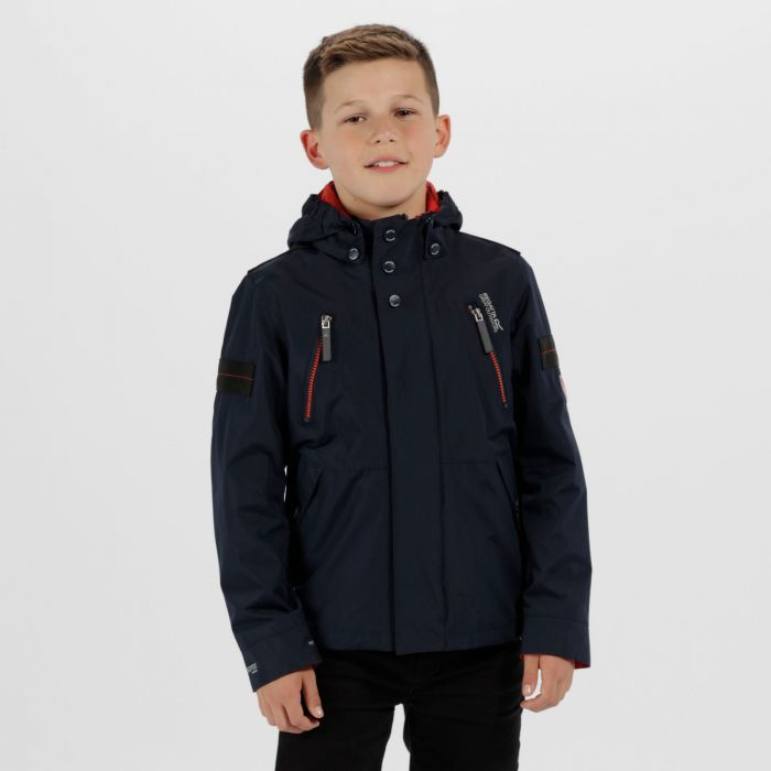 Kids Saban Detachable Hood Waterproof Jacket Navy