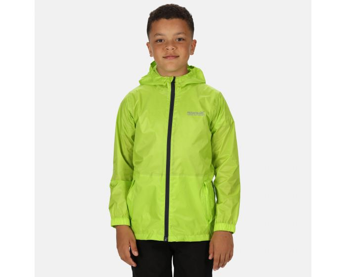 Kids Pack It Lightweight Waterproof Hooded Packaway Walking Jacket Lime Punch