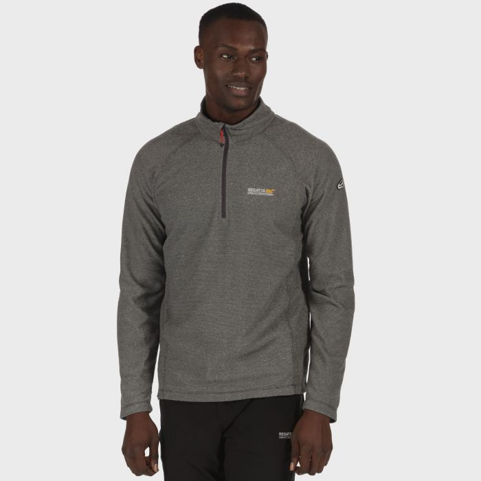 Men's Montes Half Zip Lightweight Mini Stripe Fleece Light Steel