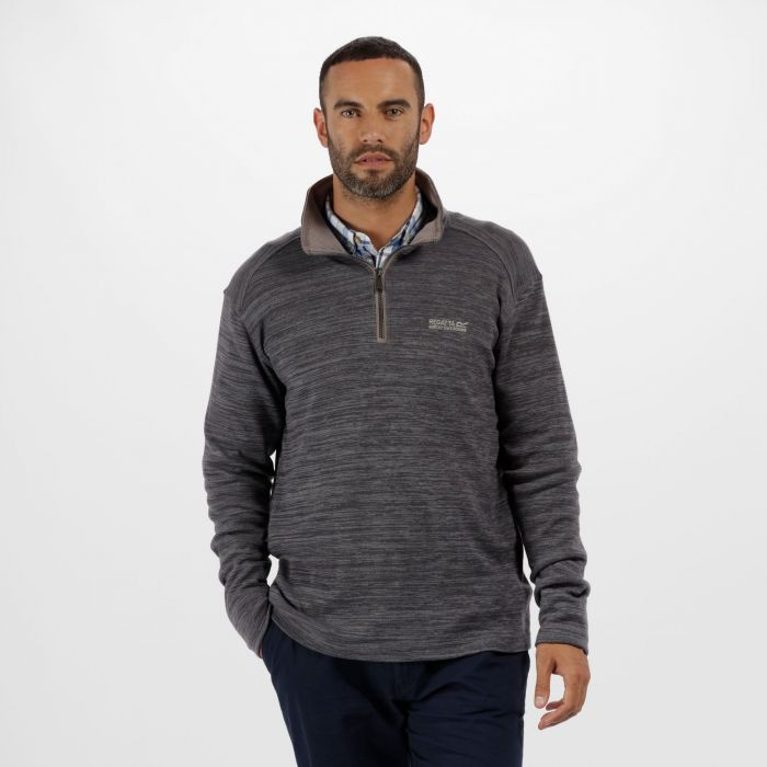 Tayson Half Zip Marl Jersey Fleece Rock Grey