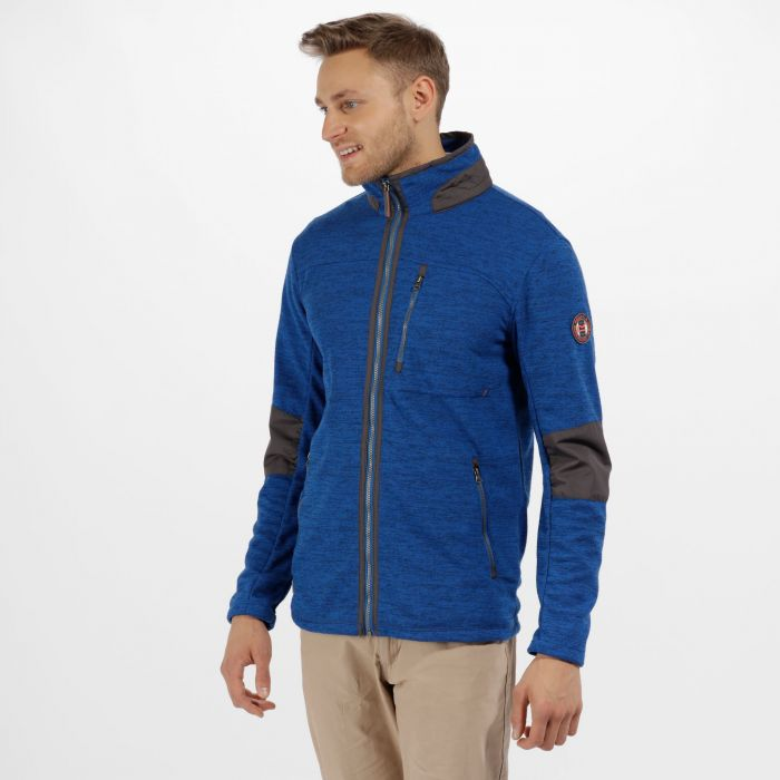 Caedin Full Zip Knit Effect Fleece Oxford Blue