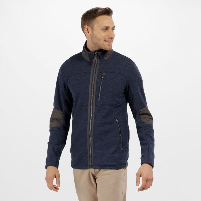 Caedin Full Zip Knit Effect Fleece Navy