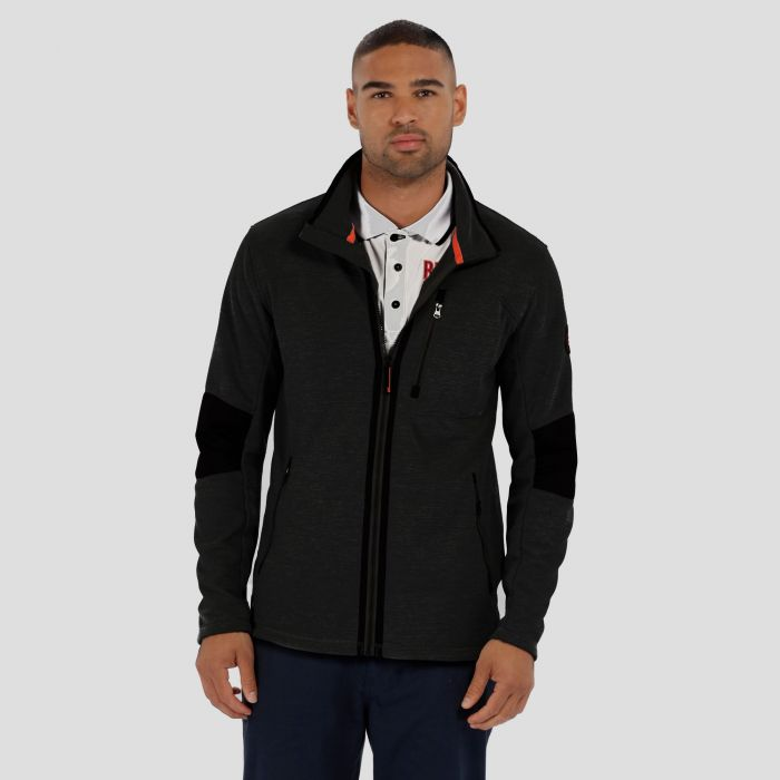 Caedin Full Zip Knit Effect Fleece Black