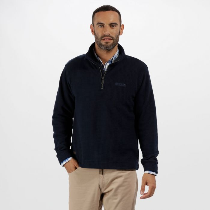Elgon III Half Zip Textured Grid Fleece Navy