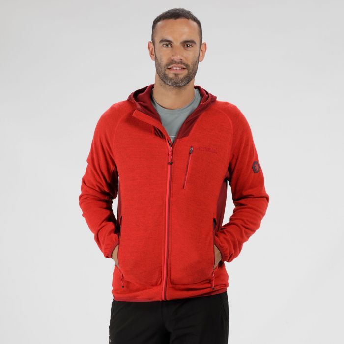 Cartersville IV Hooded Full Zip Knit Effect Fleece Pepper Delhi Red