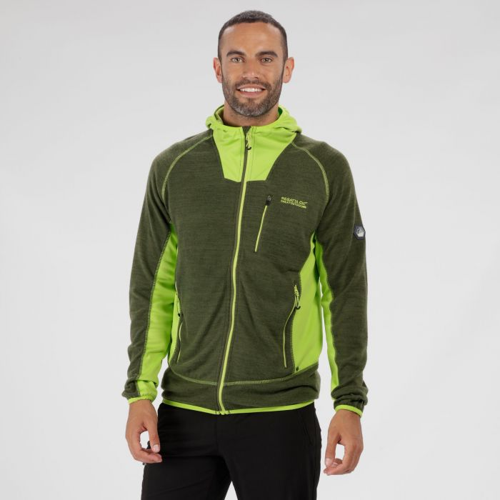 Cartersville IV Hooded Full Zip Knit Effect Fleece Racing Green Lime