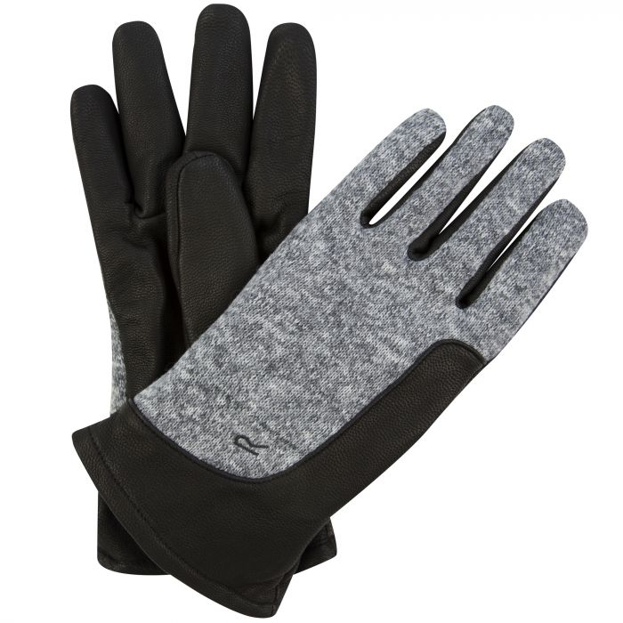 Men's Gerson Leather Gloves with Knit Effect Fleece Panel Black Dust