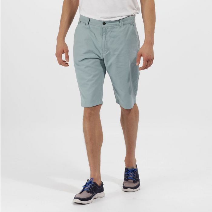 Salvador Coolweave Cotton Twill Chino Shorts Stone Blue