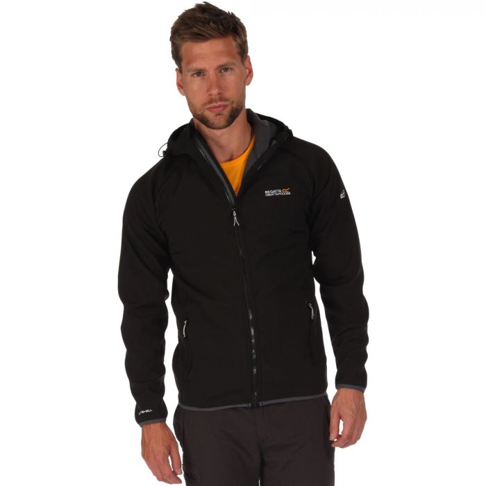 Men's Arec Stretch Hooded Softshell Jacket Black Seal Grey
