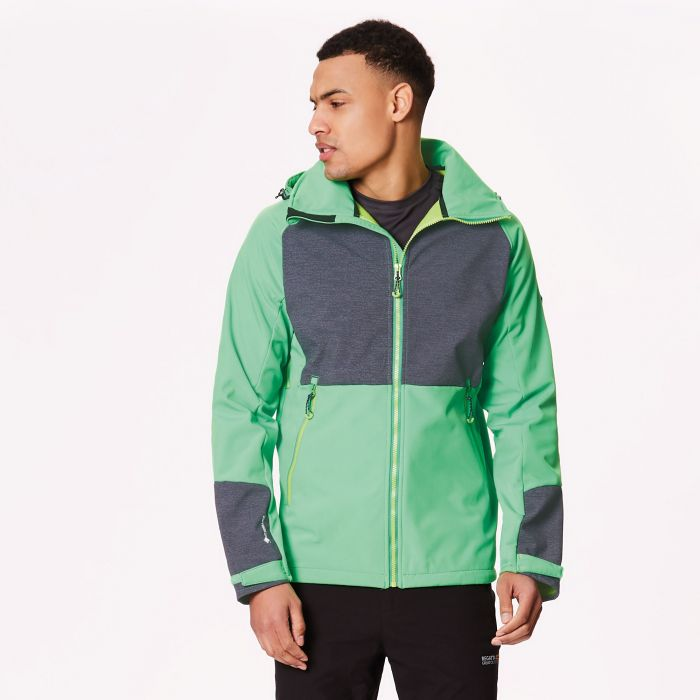 Hewitts IV Wind Resistant Stretch Softshell Jacket Fairway Green Seal Grey Reflective