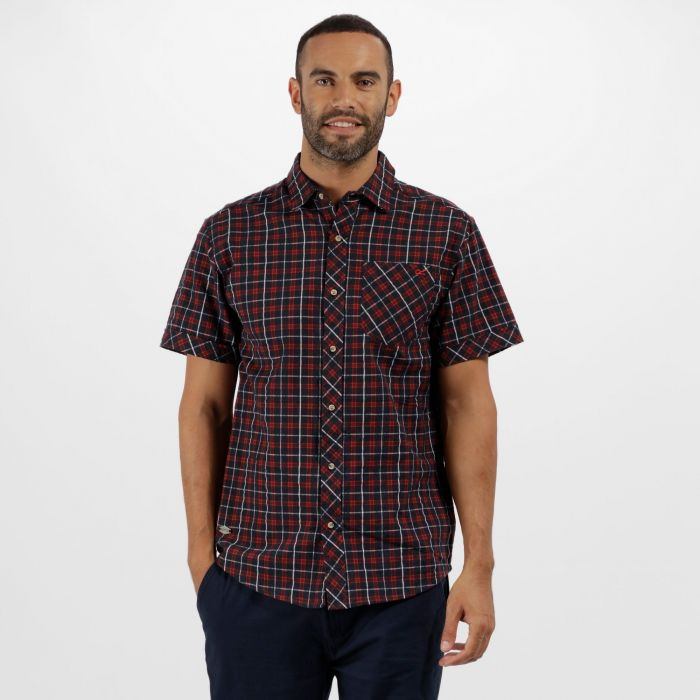 Deakin II Coolweave Cotton Checked Shirt Navy Pepper
