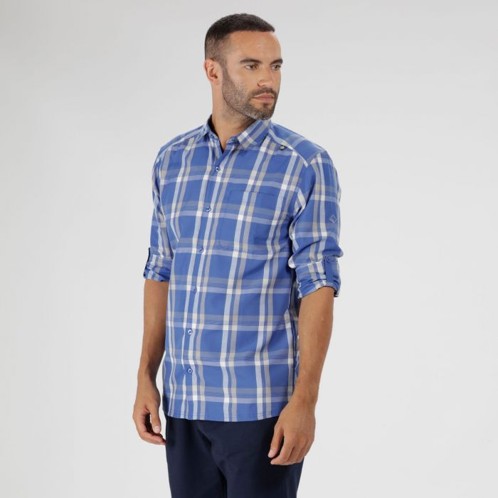 Mindano Checked Long Sleeve Shirt Oxford Blue