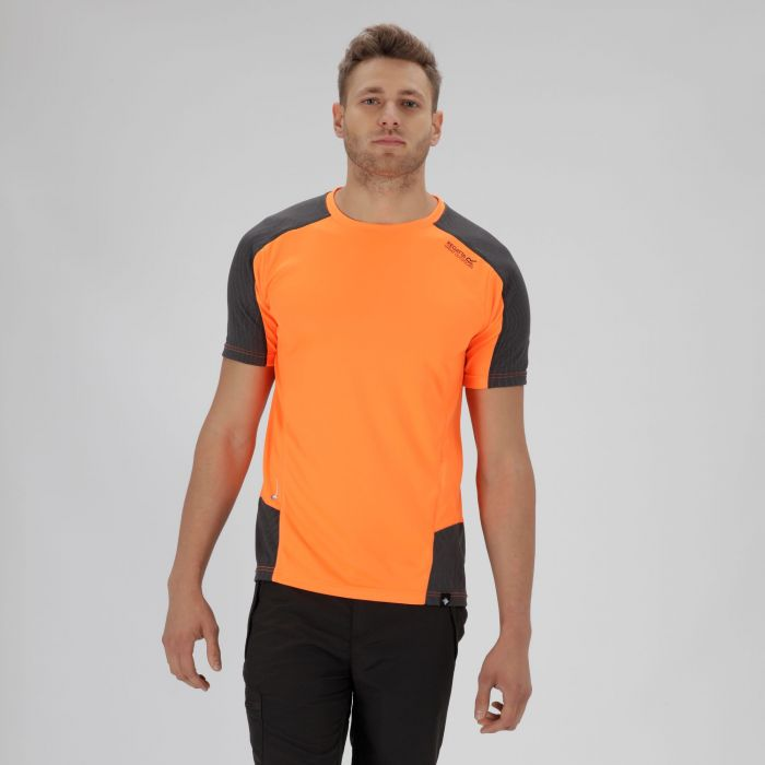 Hyper-Reflective Quick Dry T-Shirt Shocking Orange Seal Grey