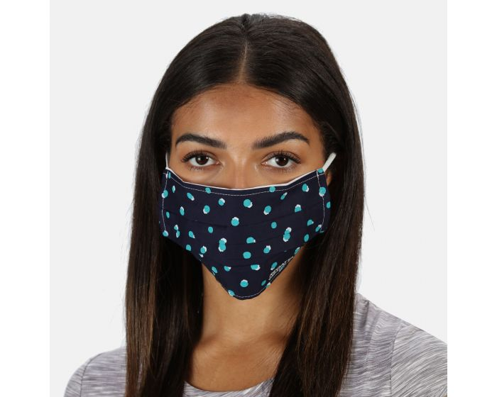 Adults Triple Layer Face Covering 3 Pack Navy Double Dot