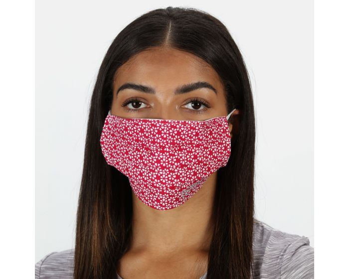Adults Triple Layer Face Covering 3 Pack Dark Cerise Scattered Floral