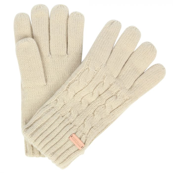 Multimix Fleece Lined Cable Knit Gloves Light Vanilla