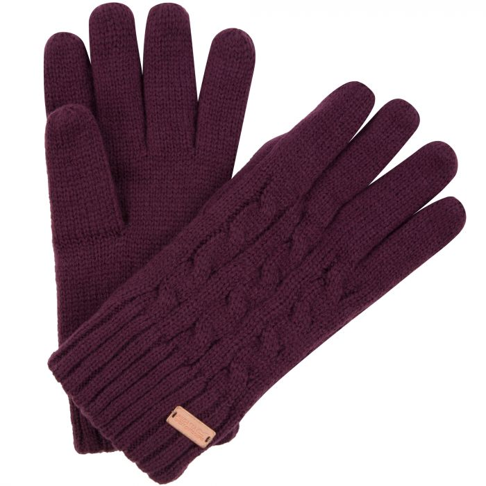 Multimix Fleece Lined Cable Knit Gloves Fig