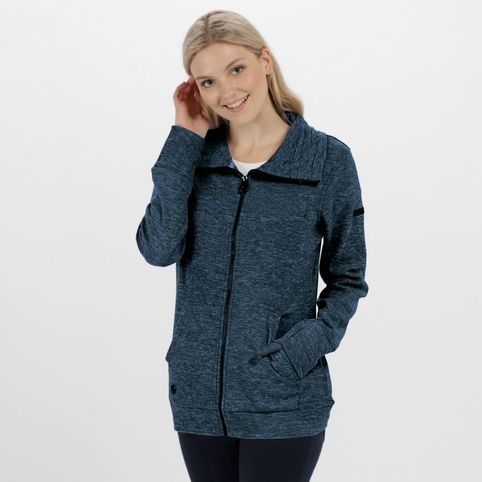 Elayna Full Zip Marl Fleece Navy