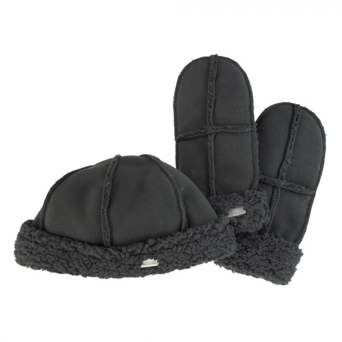 Womens Cozy Hat & Mitts Black