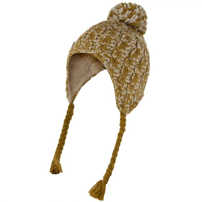 Womens Whirlwind Cable Knit Trapper Hat Gold Cumin