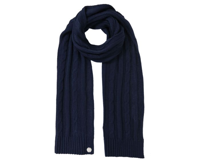 Womens Multimix Ii Cable Knit Scarf Navy