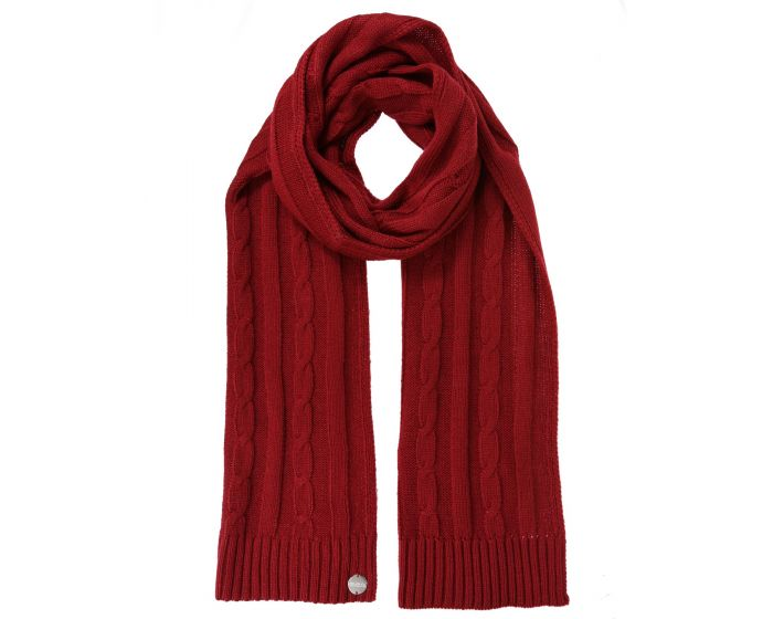 Womens Multimix Ii Cable Knit Scarf Delhi Red