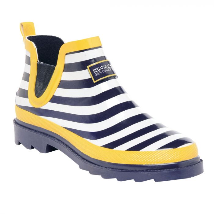 Women's Harper Low Wellington Boots Navy Lemon Stripe