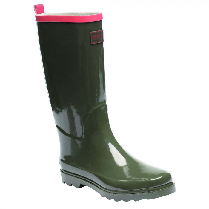Women's Fairweather Wellington Boots Olive Night Deep Sea Coral