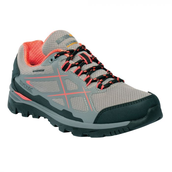Women's Kota Low Walking Shoes Rock Grey Neon Peach