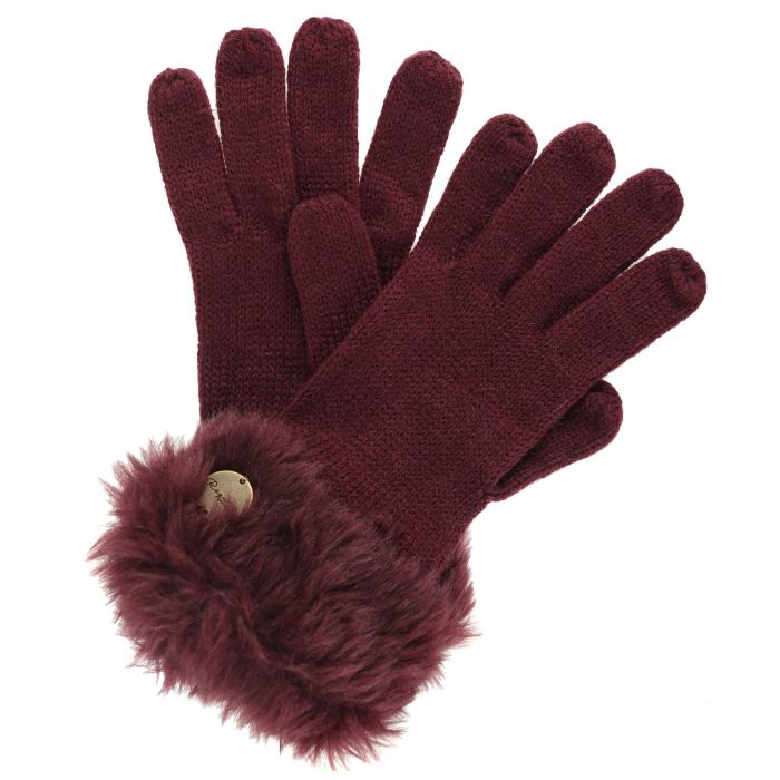 Luz Cotton Jersey Knit Gloves Burgundy
