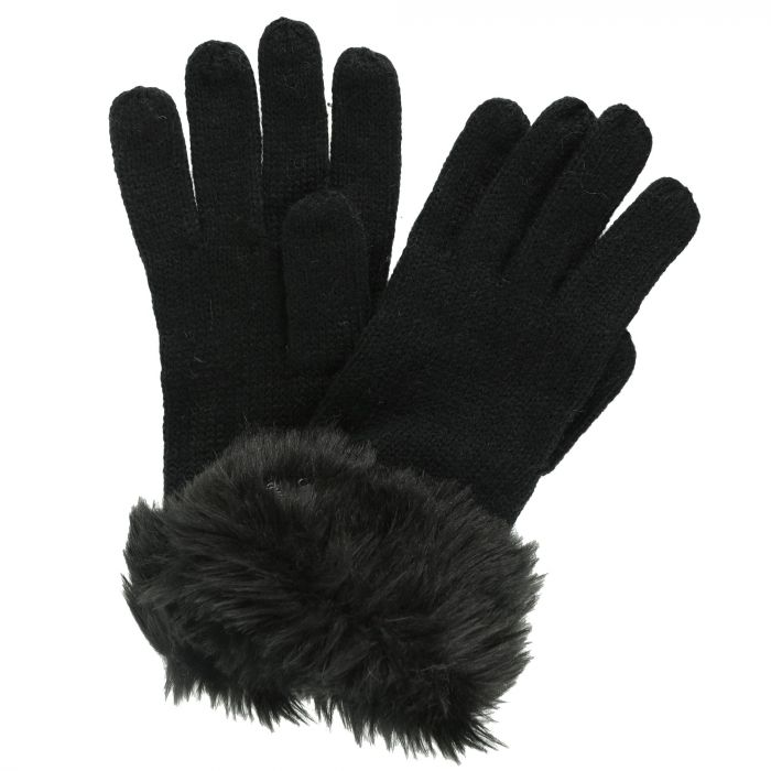 Luz Cotton Jersey Knit Gloves Black