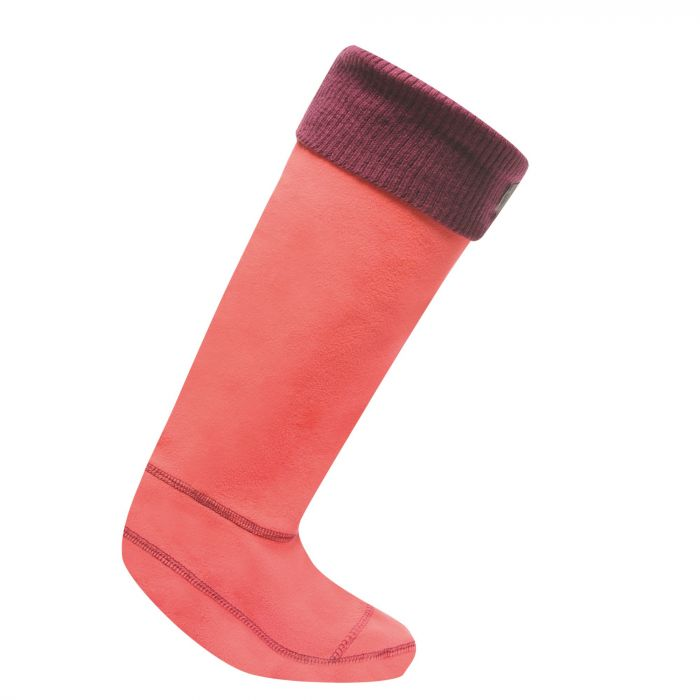 Women's Knitted Cuff Wellington Liner Socks Bright Blush Blackcurrant