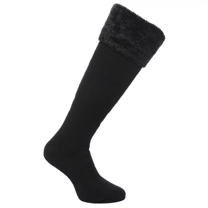 Women's Fur Collar Wellington Socks Black